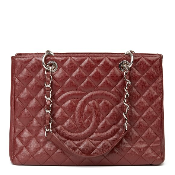 Chanel Burgundy Quilted Caviar Leather Grand Shopping Tote GST