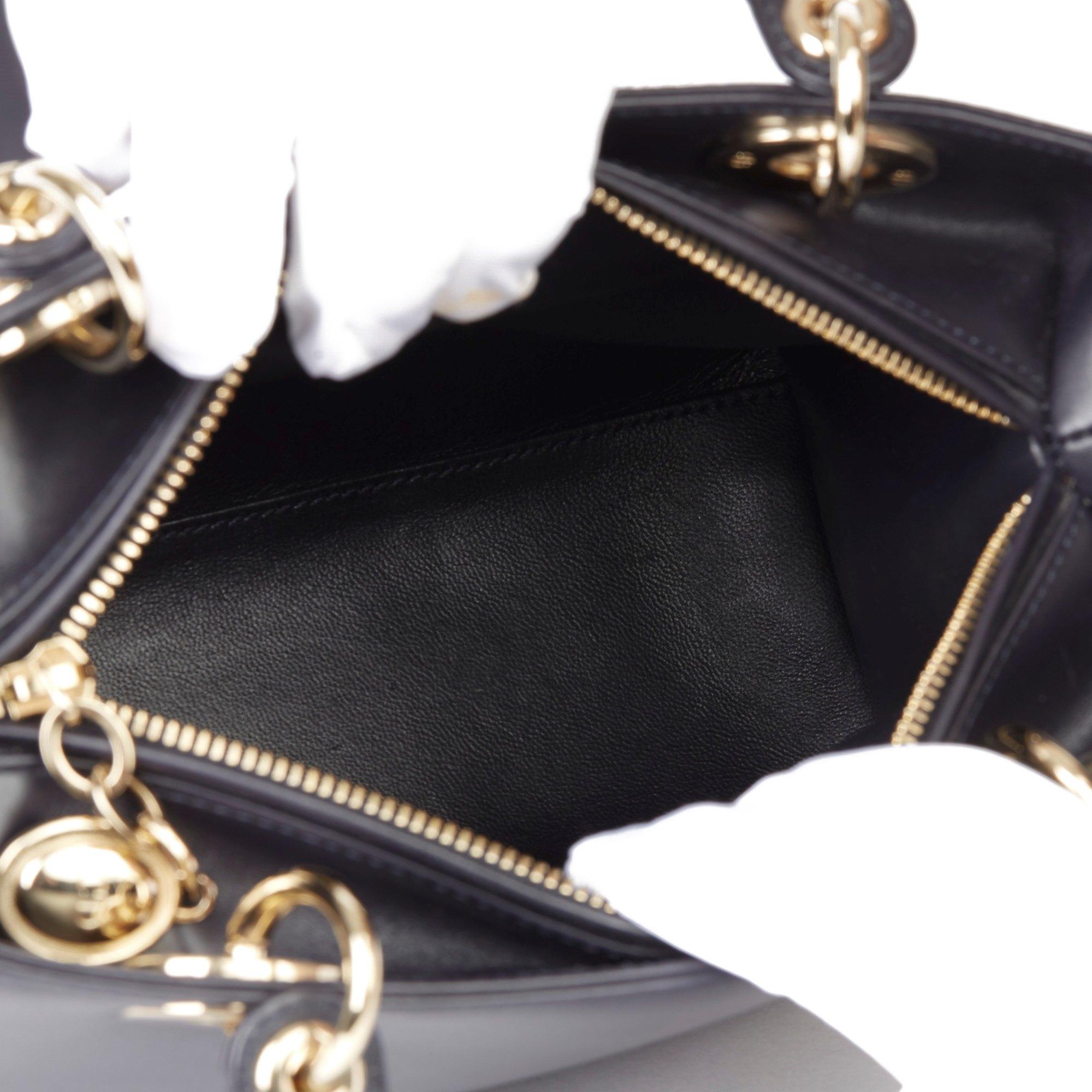 Christian Dior Navy Smooth Calfskin Leather Pocket Detail Medium Lady Dior