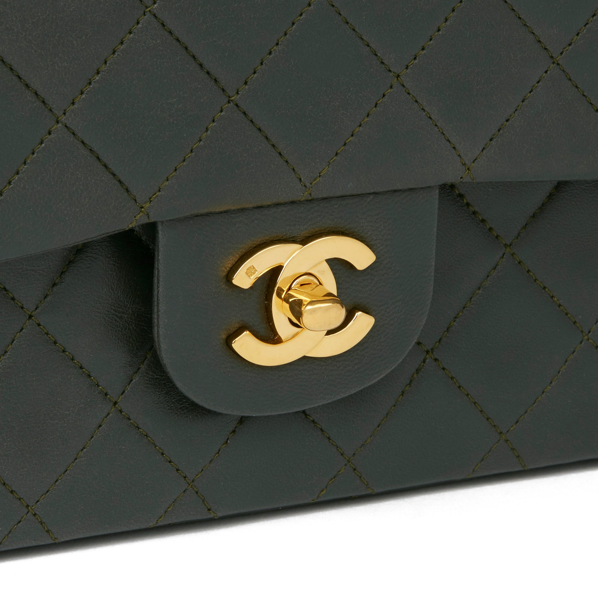 Chanel Khaki Quilted Lambskin Vintage Medium Classic Double Flap Bag