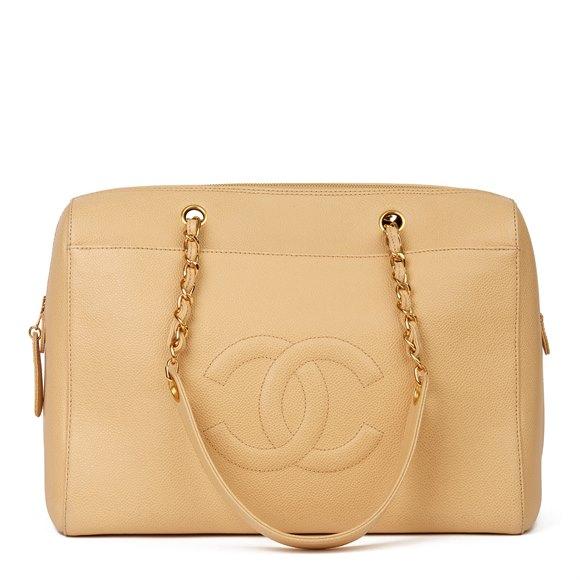 Chanel Beige Caviar Leather Vintage Timeless Shoulder Bag