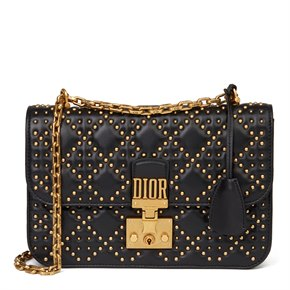 Christian Dior Black Studded Lambskin Dioraddict Flap Bag