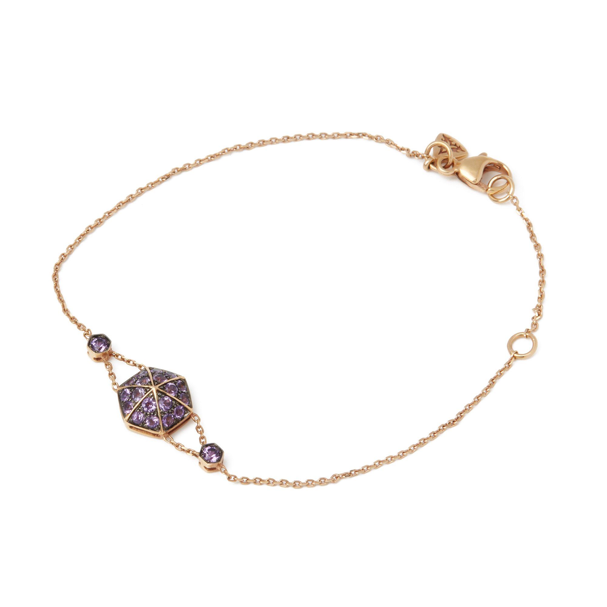 Stephen Webster 18k Rose Gold full Pave Amethyst Deco Bracelet
