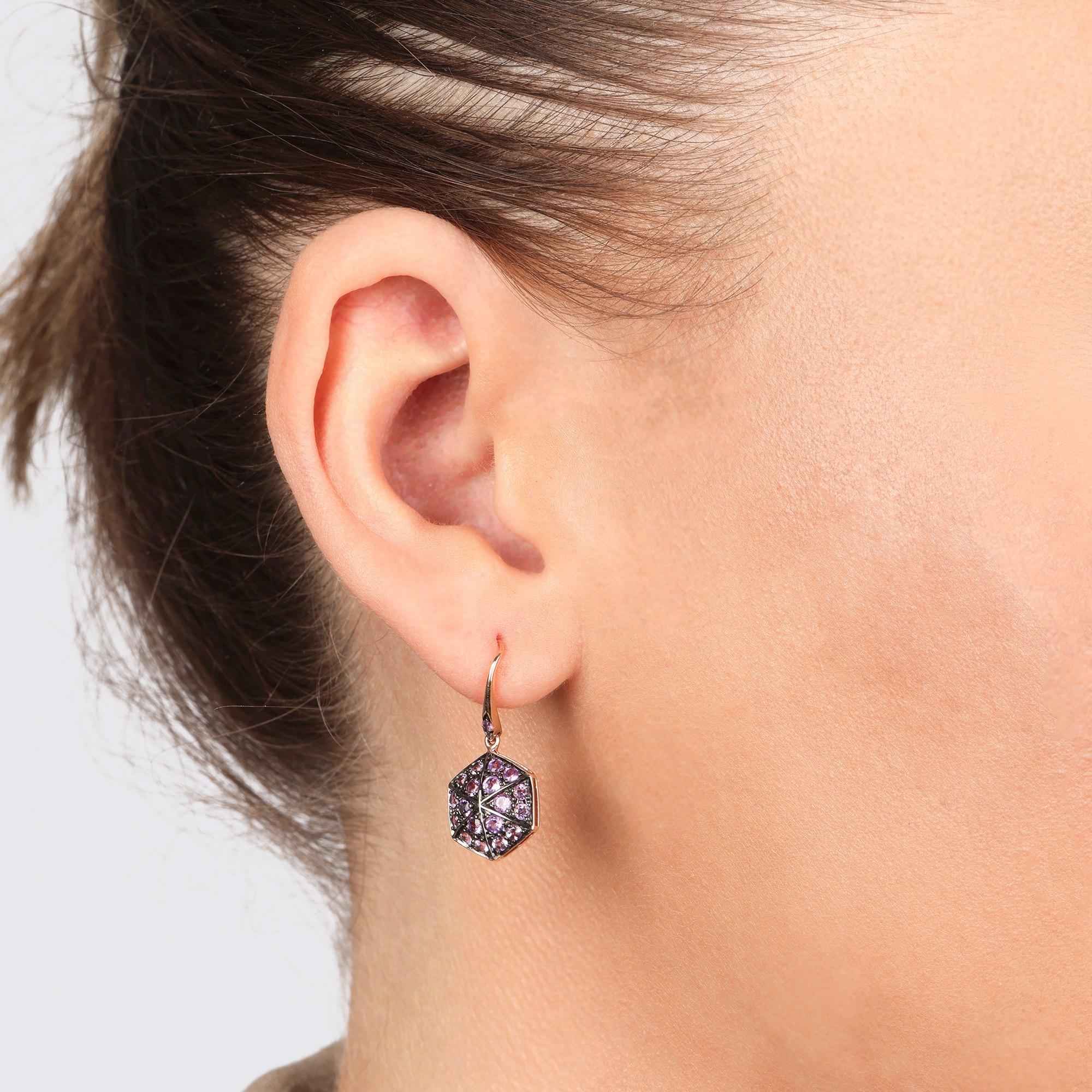 Stephen Webster 18k Rose Gold full Pave Amethyst Deco Earrings
