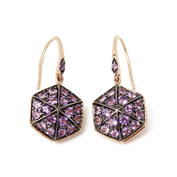 Stephen Webster 18k Rose Gold full Pave Amethyst Deco Earrings