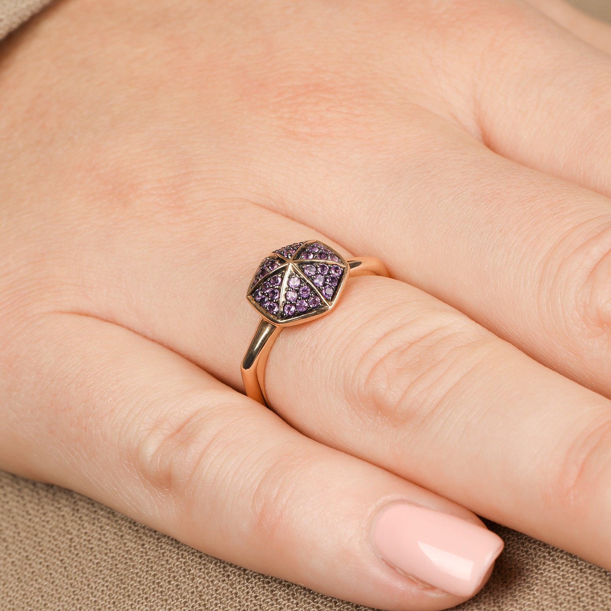 Stephen Webster 18k Rose Gold full Pave Amethyst Deco Ring