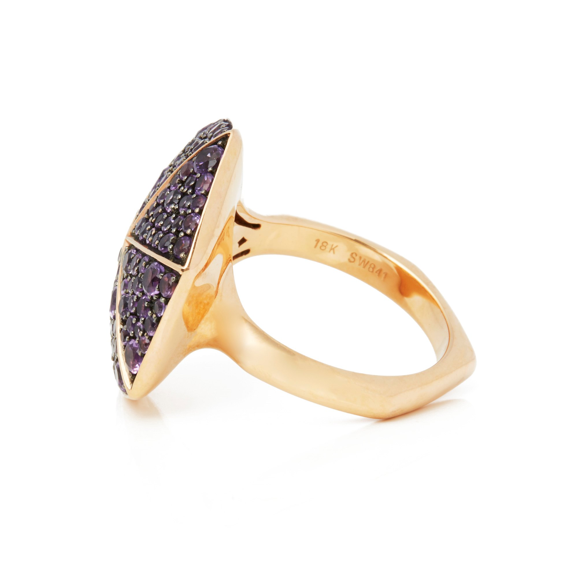 Stephen Webster 18k Rose Gold full Pave Amethyst Deco Ring