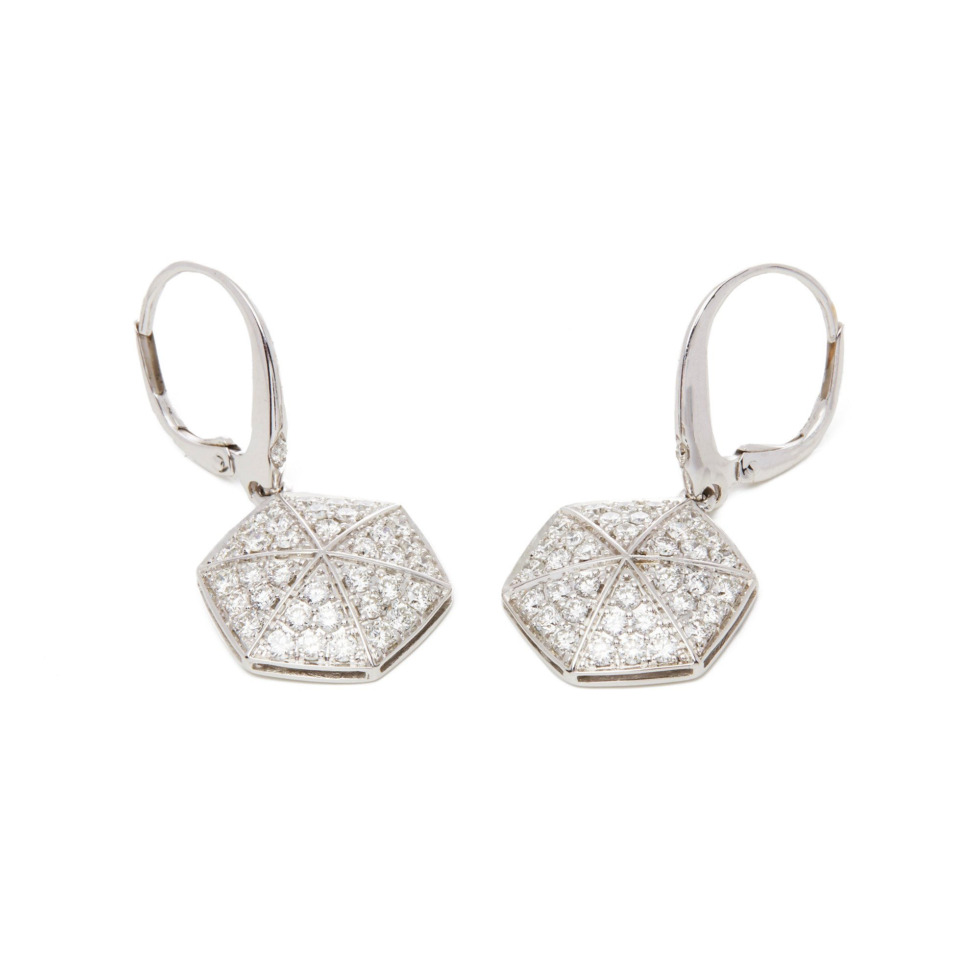 Stephen Webster 18k White Gold Full Pave Diamond Deco Earrings