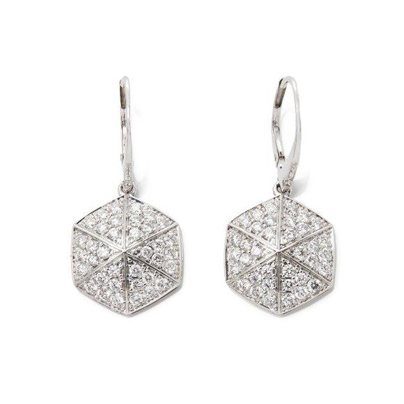 Stephen Webster 18k White Gold Full Pave Diamond Deco Earrings