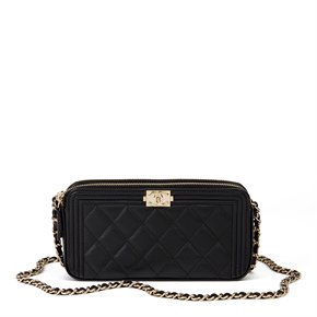 Chanel Black Quilted Lambskin Double Zip Around Le Boy Wallet-on-Chain WOC