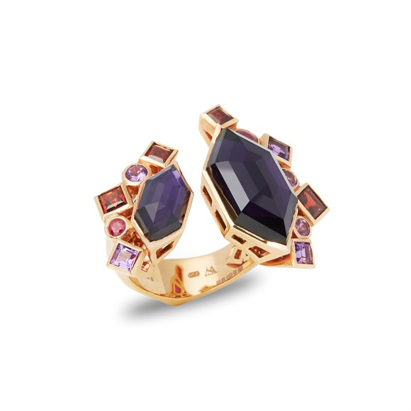 Stephen Webster 18ct Rose Gold Crystal Haze Gold Struck Amethyst Open Ring