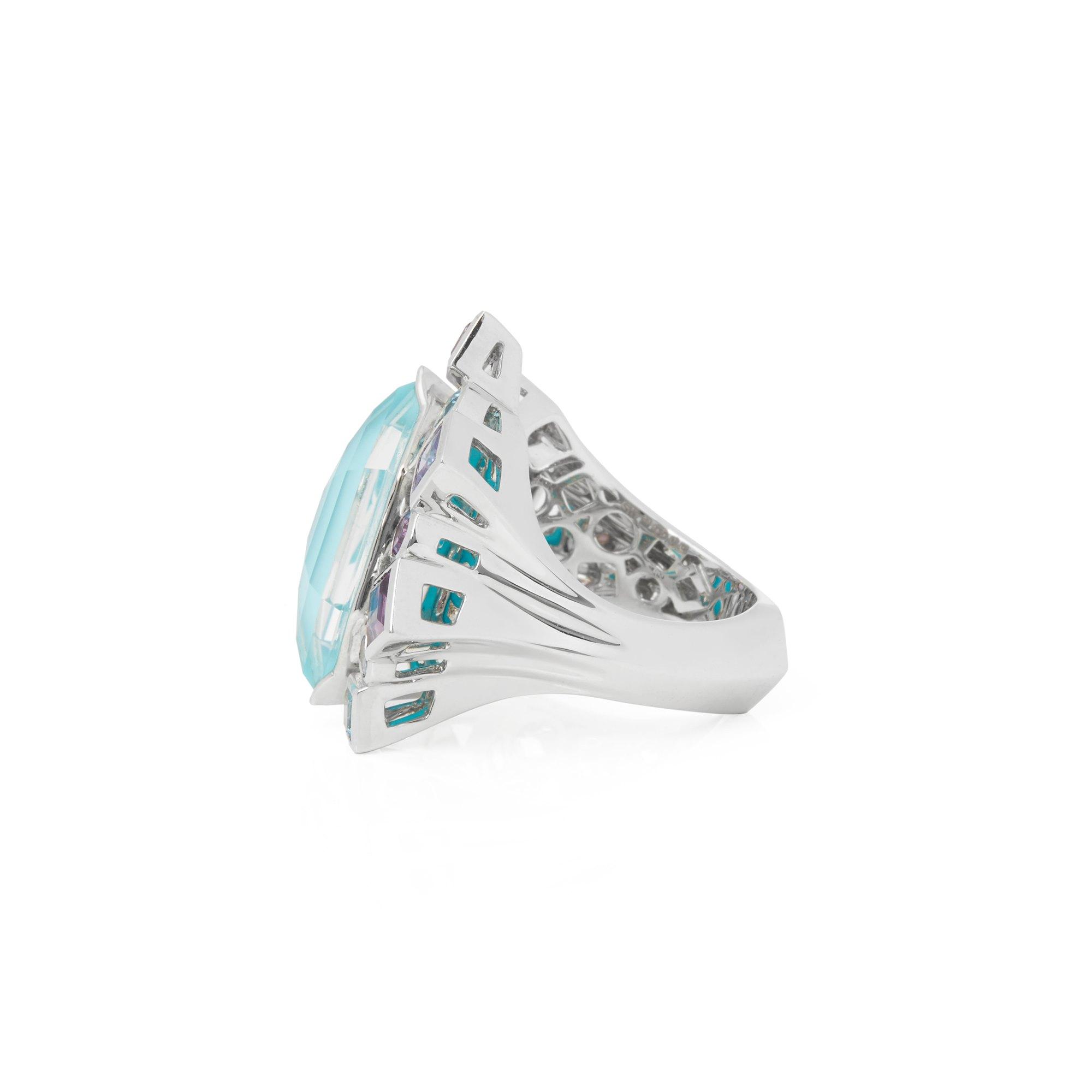Stephen Webster 18k White Gold Crystal Haze Gold Struck Turquoise Open Ring