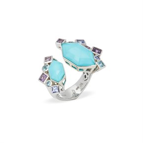 Stephen Webster 18k White Gold Crystal Haze Gold Struck Turquoise Open Ring