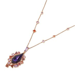Stephen Webster 18k Rose Gold Crystal Haze Gold Struck Amethyst Pendant