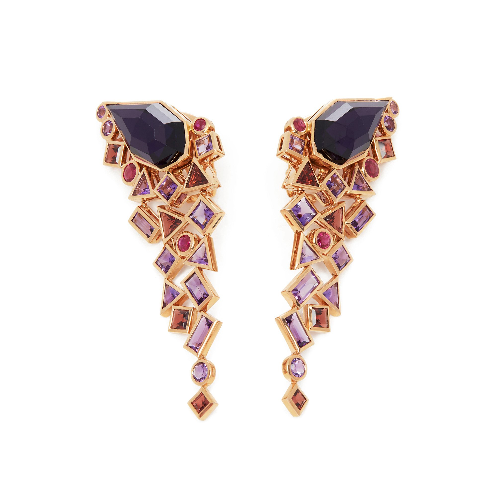 Stephen Webster 18k Rose Gold Crystal Haze Gold Struck Amethyst Earrings