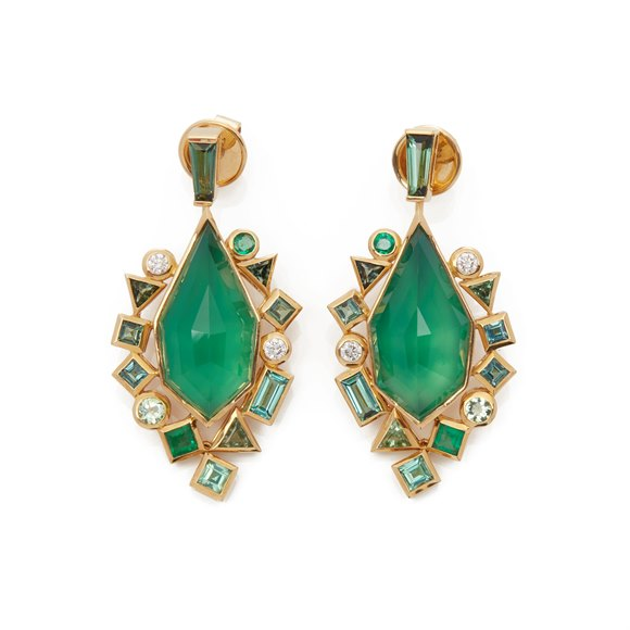 Stephen Webster 18k Yellow Gold Crystal Haze Gold Struck Green Agate Earrings