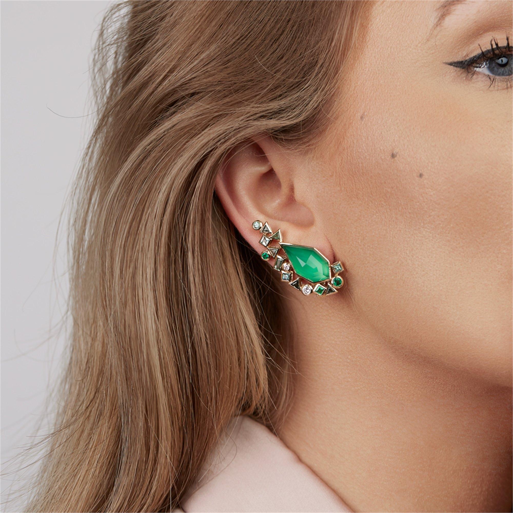 Stephen Webster 18k Yellow Gold Crystal Haze Gold Struck Green Agate Earrings