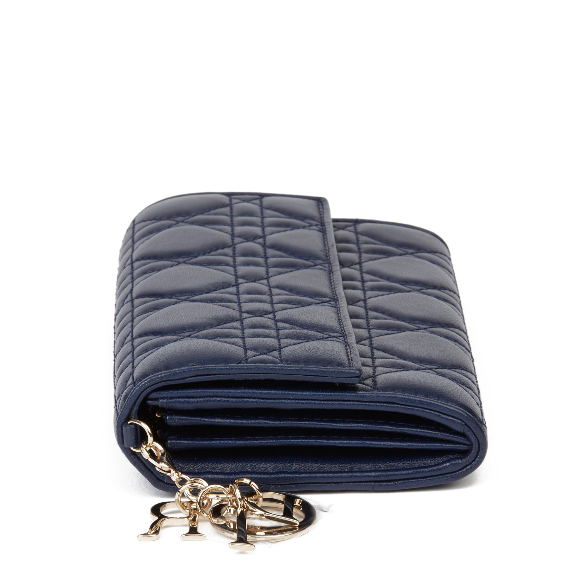 Christian Dior Navy Quilted Lambskin Lady Dior Long Wallet