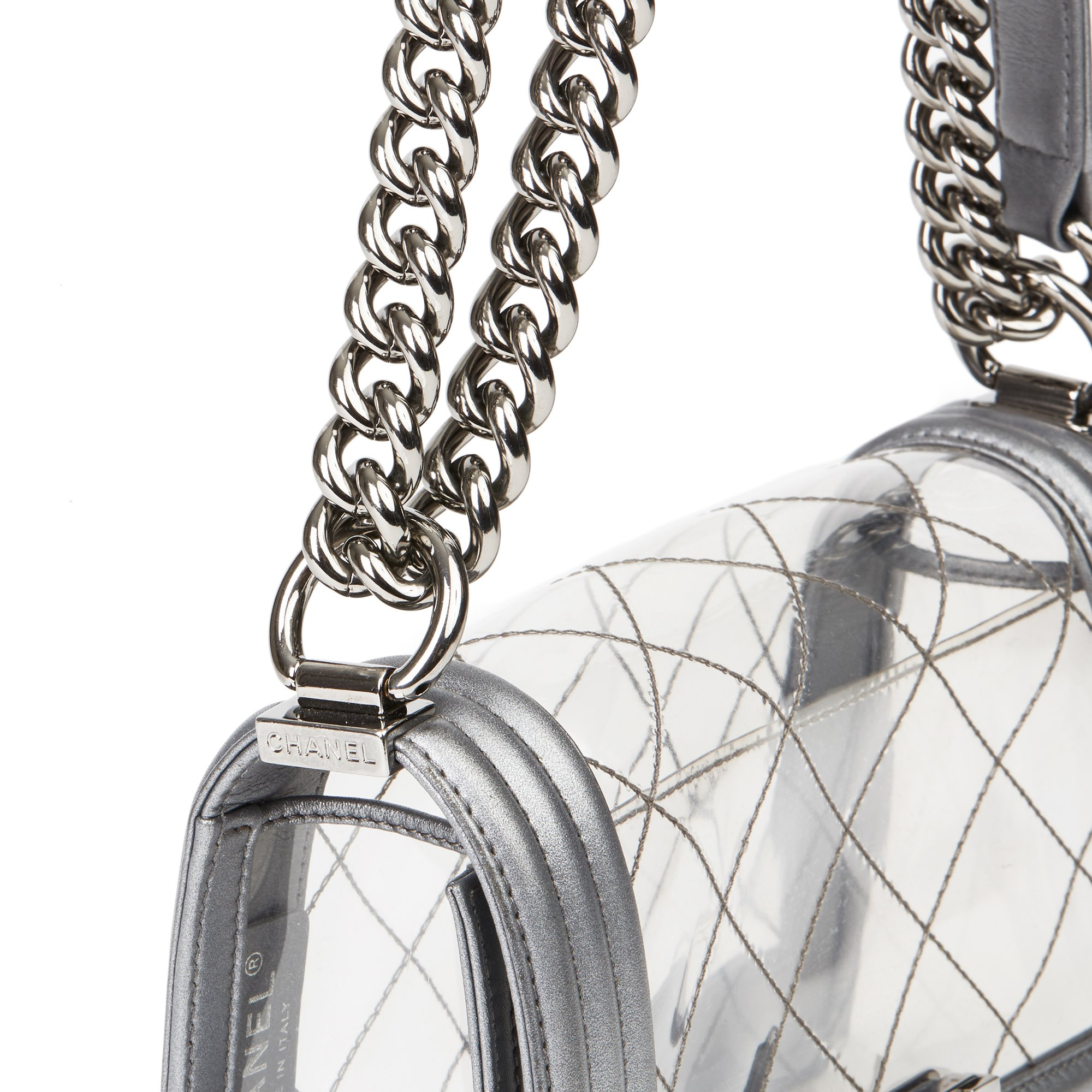 Chanel Silver Metallic Calfskin Leather & Transparent PVC Naked Small Le Boy