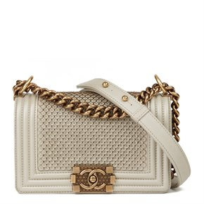 Chanel Light Gold Scaled Metallic Calfskin Leather Small Le Boy