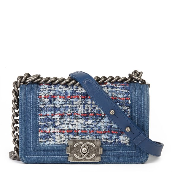 Chanel Blue Denim & Multicolour Quilted Tweed Fabric Small Le Boy