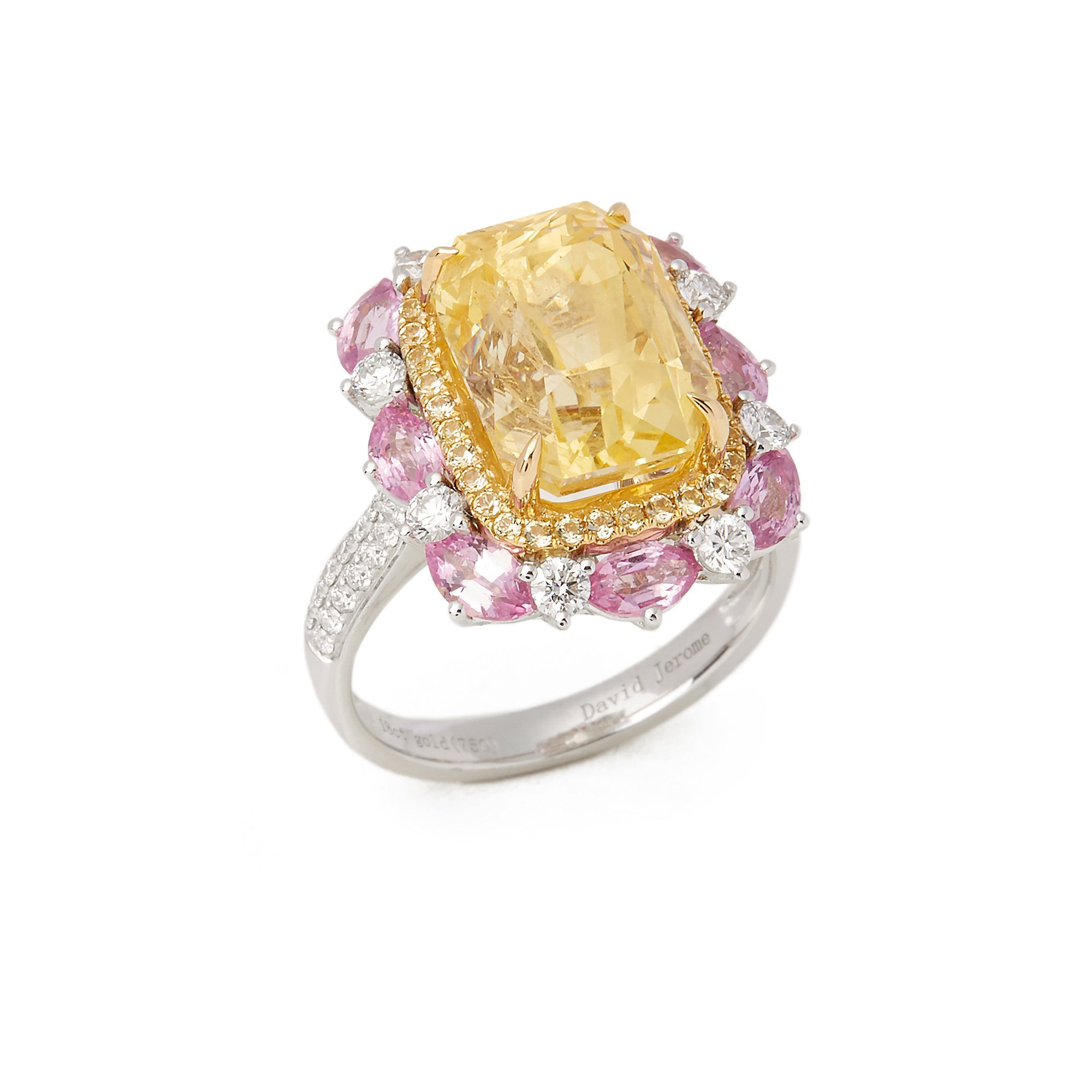 David Jerome Certified 10.38ct Untreated Cushion Cut Yellow Sapphire and Diamond Ring
