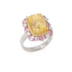 David Jerome 18ct White Gold Yellow Sapphire, Diamond and Pink Sapphire Cluster Ring