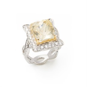 David Jerome 18ct White Gold Yellow Sapphire and Diamond Cluster Ring