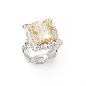 David Jerome Certified 12.19ct Untreated Sri Lankan Cushion Cut Yellow Sapphire and Diamond Ring