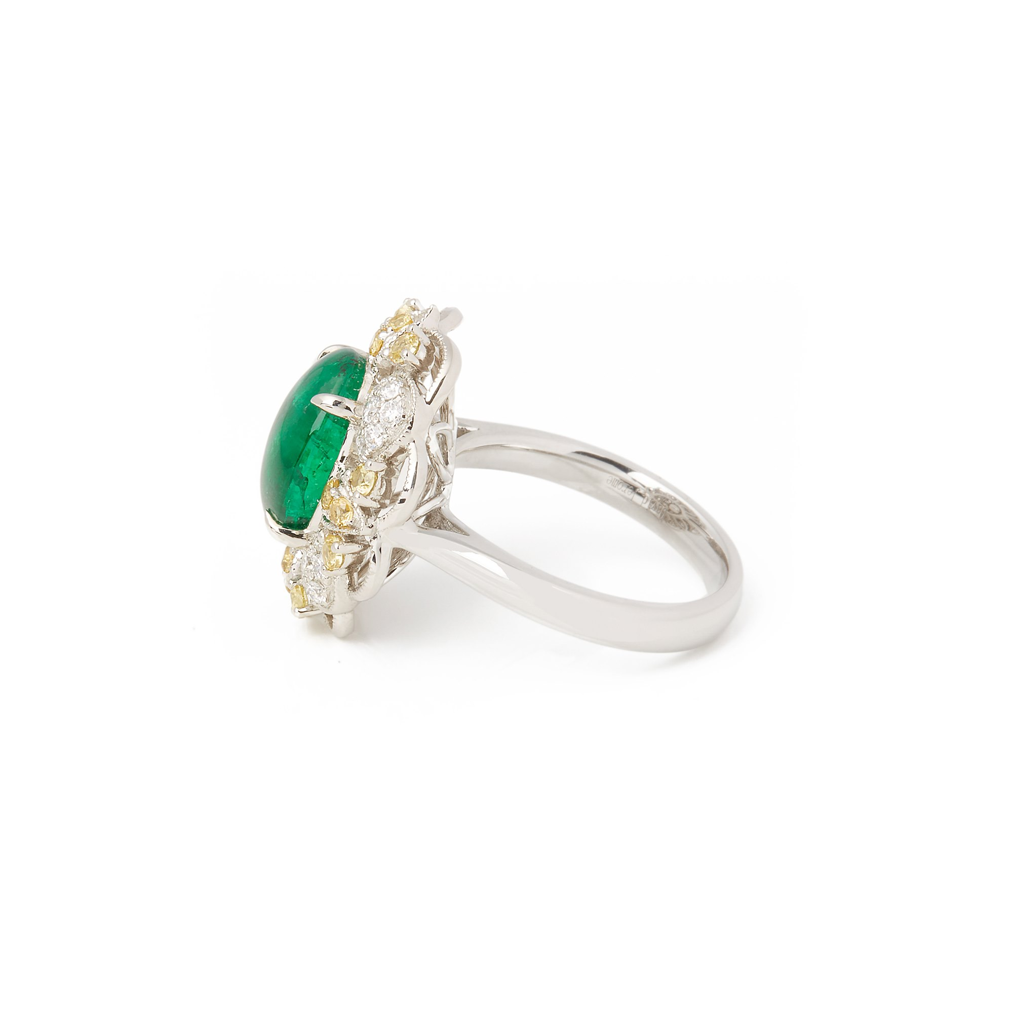 David Jerome Certified 6.41ct Untreated Columbian Cabochon Emerald and Diamond Cluster Ring