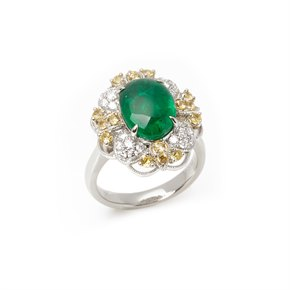David Jerome Platinum Emerald, Diamond and yellow Sapphire Cluster Ring