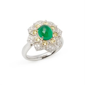 David Jerome Certified 2.16ct Untreated Cabochon Cut Emerald and Diamond Ring