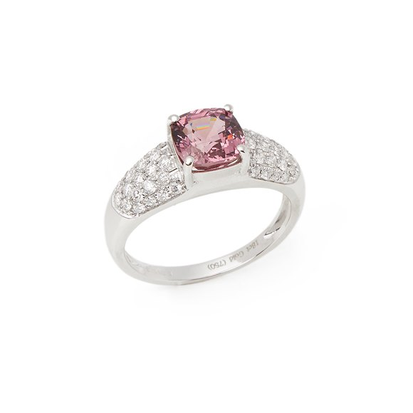 David Jerome Certified 2.03ct Untreated Cushion Cut Spinel and Diamond Ring