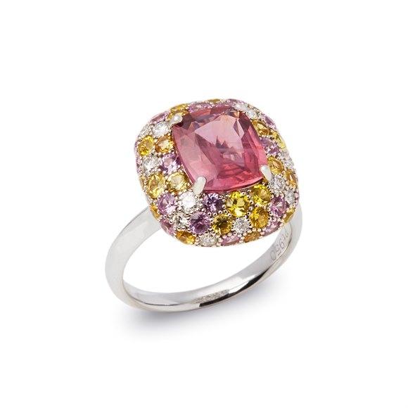 David Jerome Platinum Padpardacha Sapphire, Diamond, Pink and Yellow Sapphire Cluster Ring