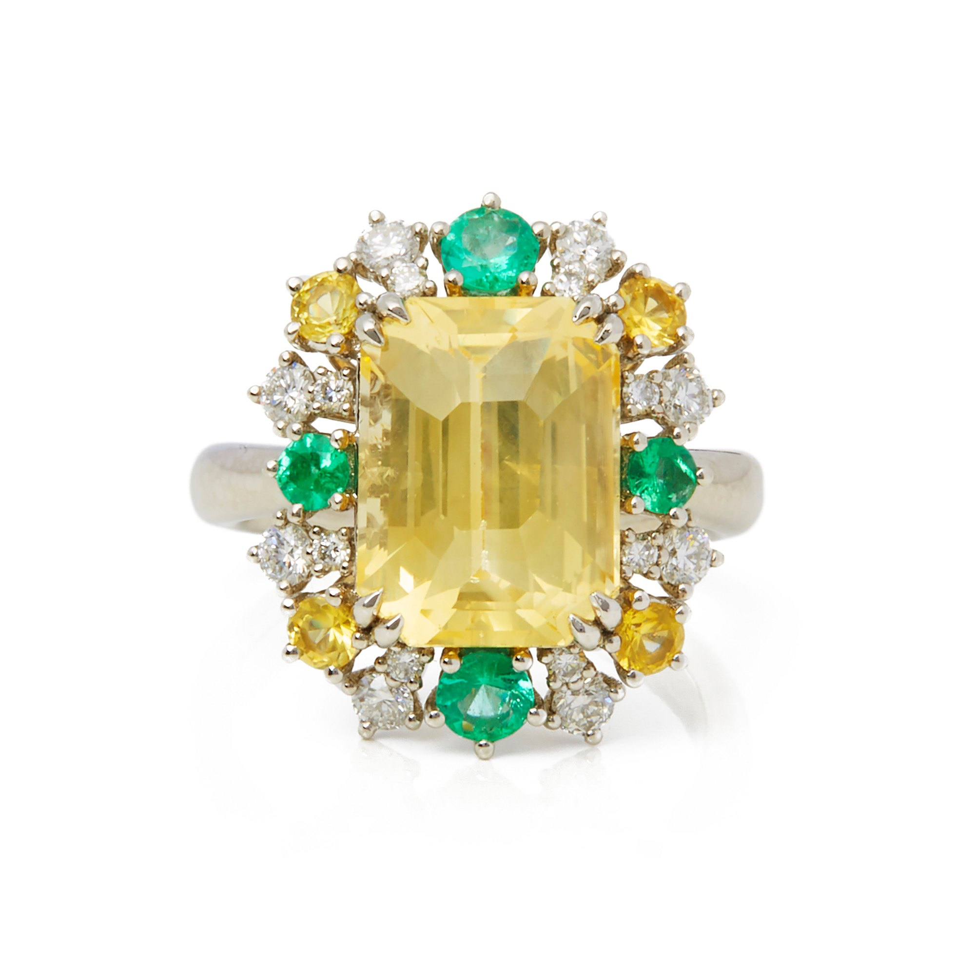 David Jerome Certified 8.08ct Untreated Emerald Cut Yellow Sapphire and Diamond Cluster Ring
