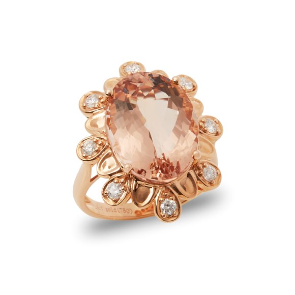 David Jerome Certified 9.28ct Untreated Brazillian Oval Cut Morganite and Diamond Cluster Ring