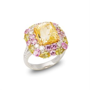 David Jerome 18ct White Gold Yellow Sapphire, Diamond and Pink and Green Sapphire Cluster Ring
