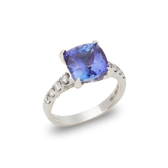 David Jerome Certified 4.28ct Cushion Cut Tanzanite and Diamond Ring