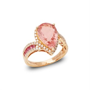 David Jerome Certified 3.80ct Untreated Afghanistan Pear Cut Morganite and Diamond Ring