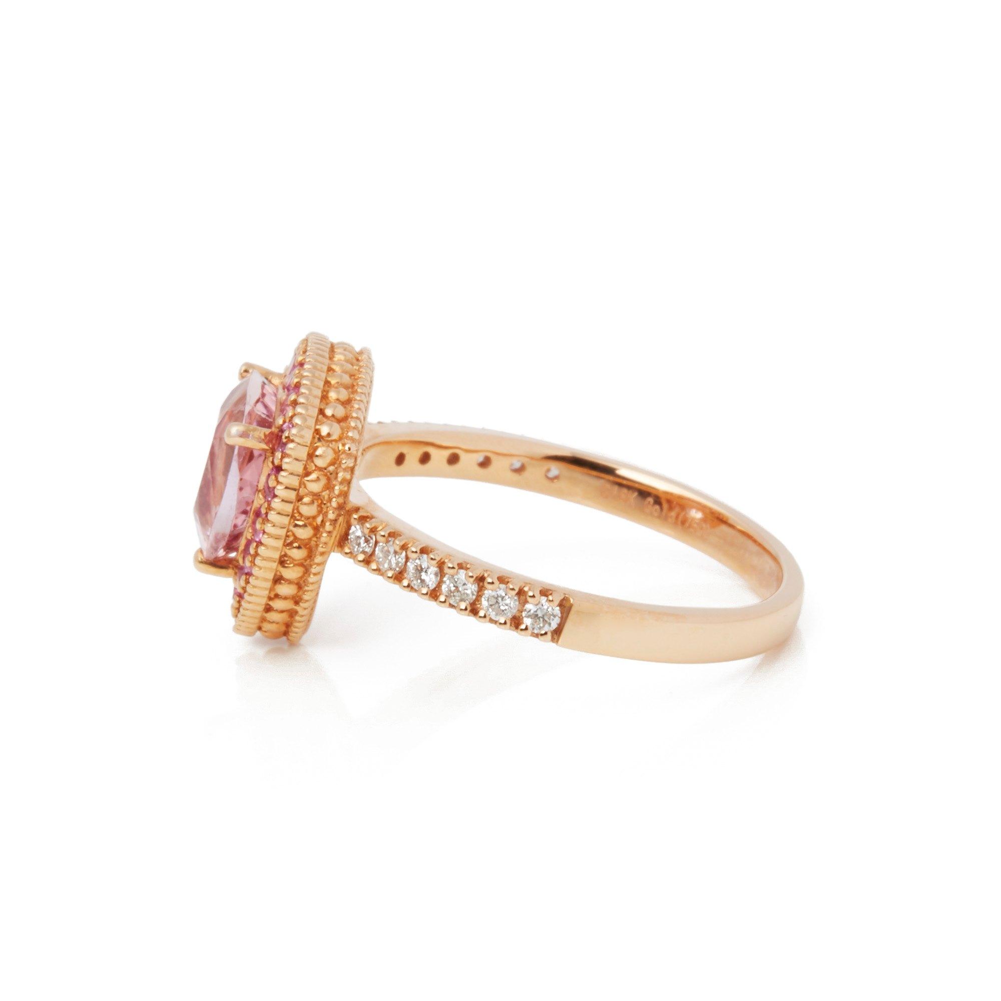 David Jerome Certified 1.49ct Trilliant Cut Pink Morganite and Diamond Ring