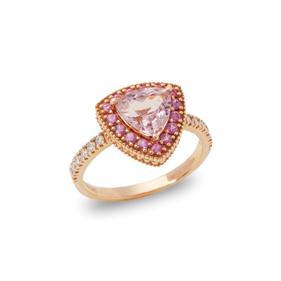 David Jerome Certified 1.49ct Trilliant Cut Pink Morganite and Diamond Ring