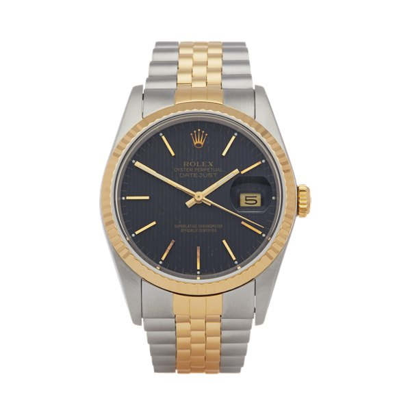 Rolex Datejust 36 Pin Stripe Dial Stainless Steel & Yellow Gold - 16233