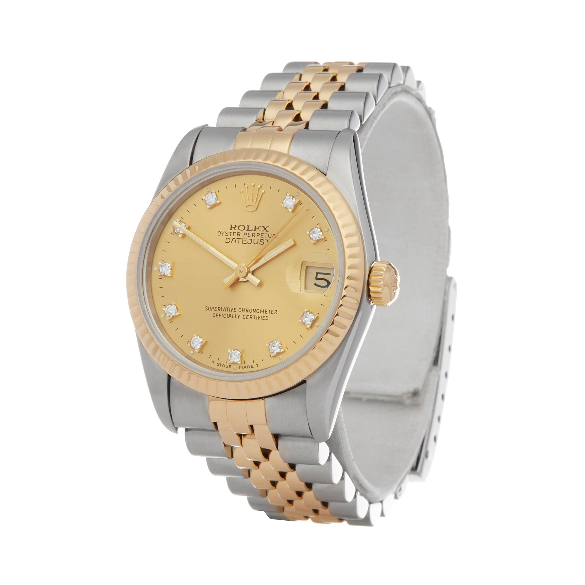 Rolex Datejust 31 Diamond 18K Stainless Steel & Yellow Gold 68273