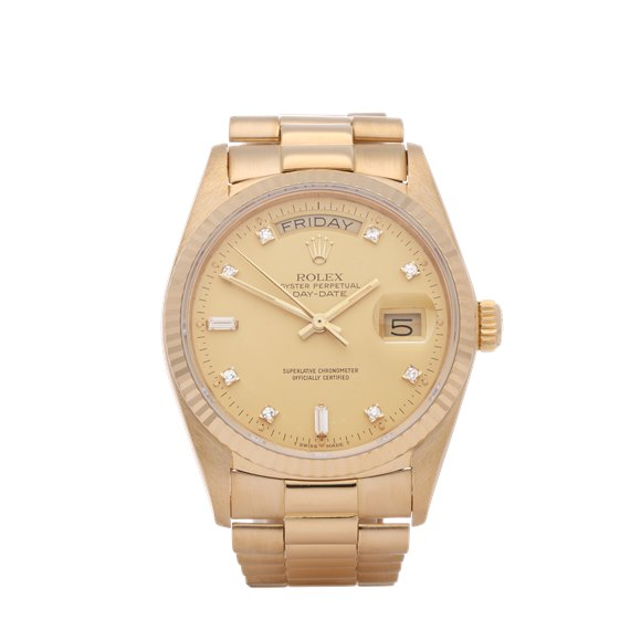 Rolex Day-Date 36 Diamond Dial 18K Yellow Gold - 18038A