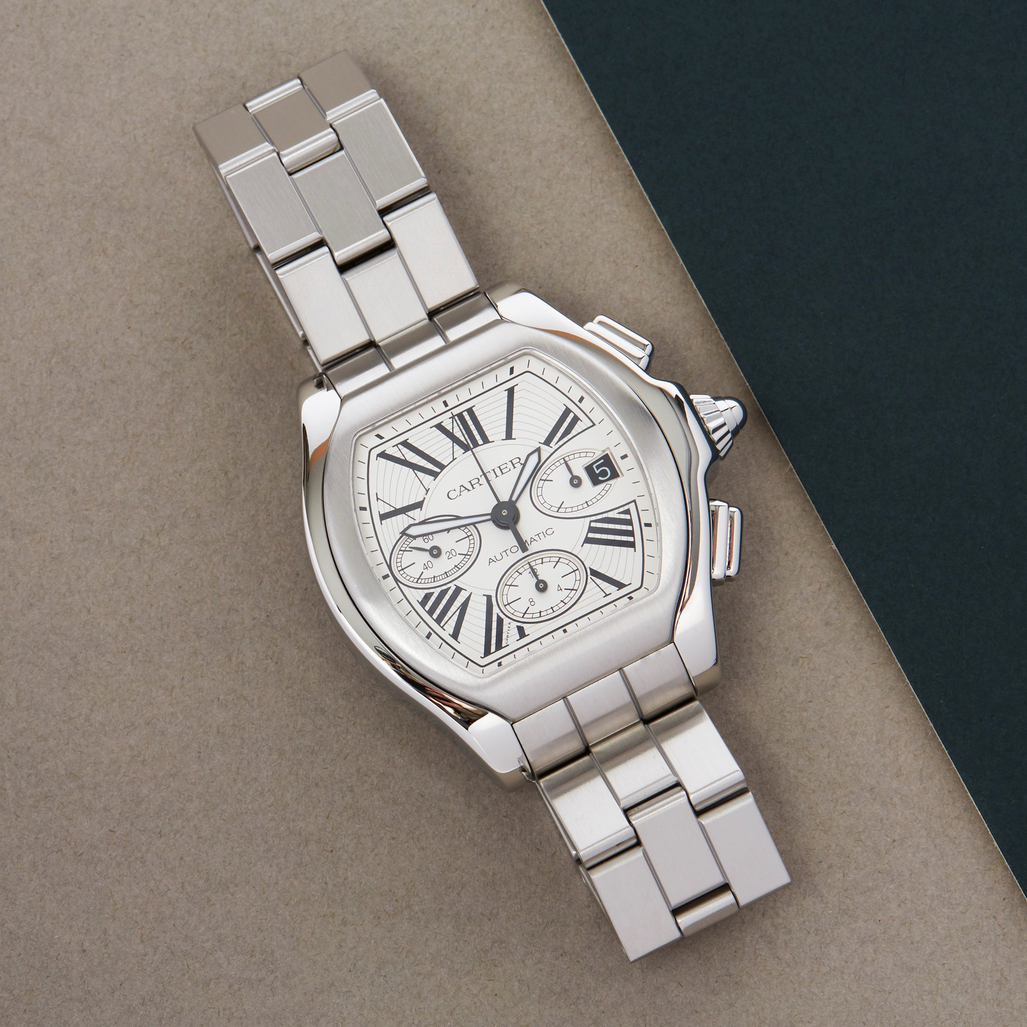Cartier Roadster XL Chronograph Roestvrij Staal W6206019 or 3405