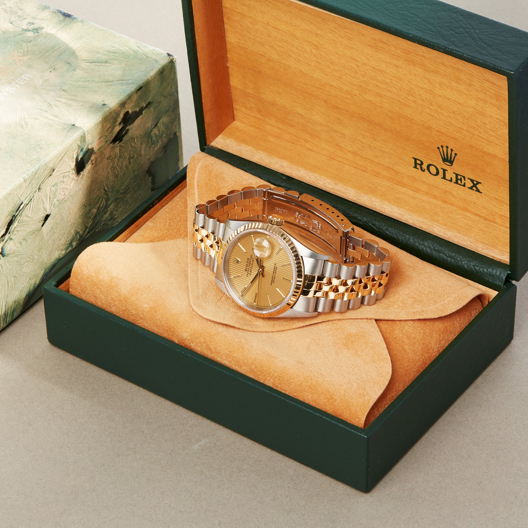 Rolex Datejust 36 Pinstripe Dial Stainless Steel & Yellow Gold 16233