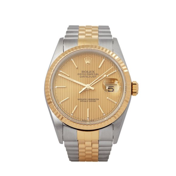 Rolex Datejust 36 Pinstripe Dial Stainless Steel & Yellow Gold - 16233