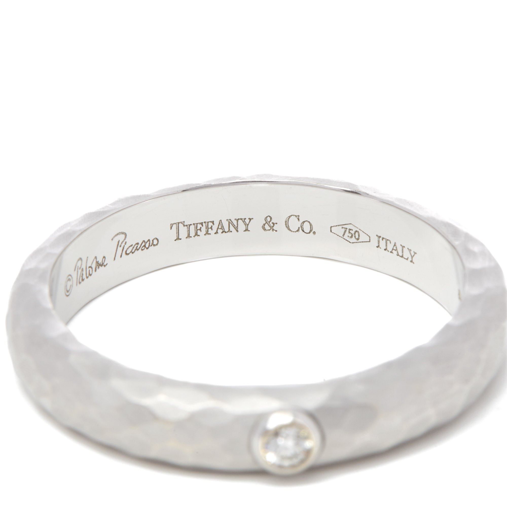 Tiffany & Co. 18k White Gold Paloma Picasso Hammered Finish Solitaire Diamond Ring