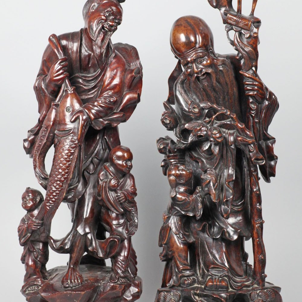 Superb Pair Large Antique Oriental Carved Hard Wood Figures 19th C.