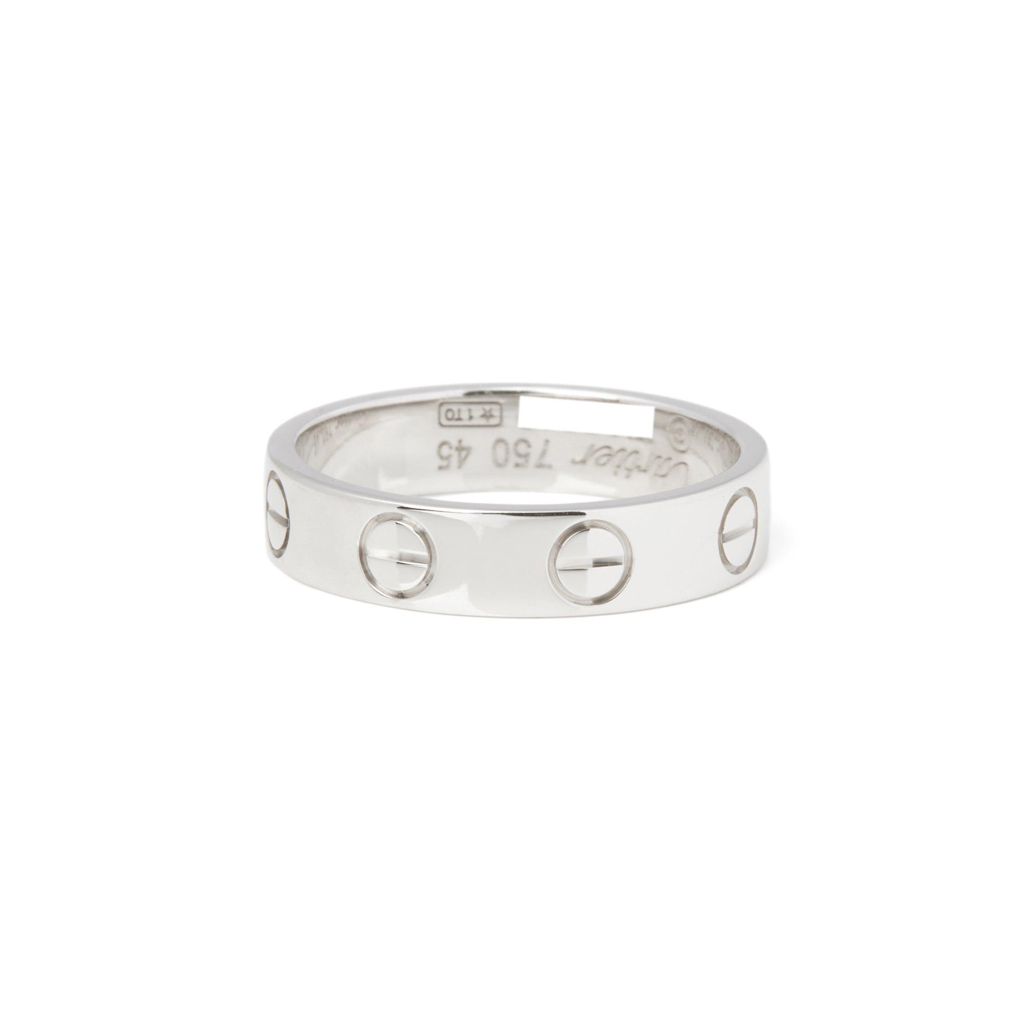 Cartier 18k White Gold Plain Love Ring