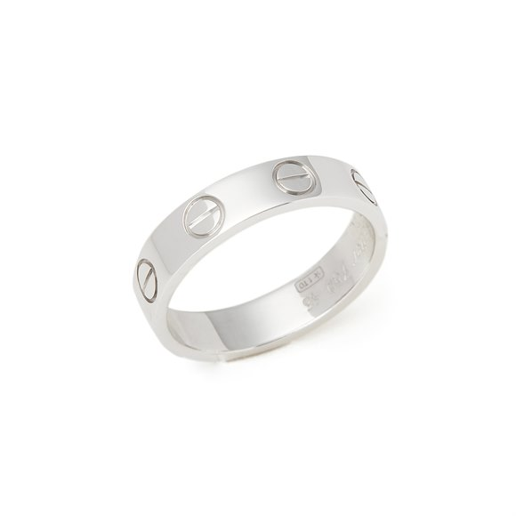 Cartier 18k White Gold Plain Love Ring